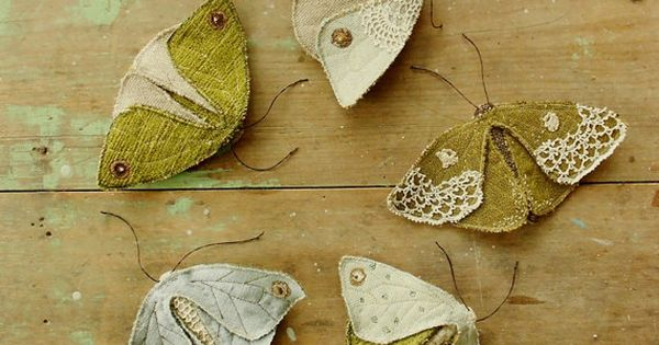Fabric moths set of 5 / recycled / brooch / textile by