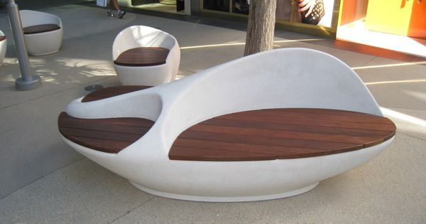 Sculptural bench with ipe seating for Outdoor furniture jeddah