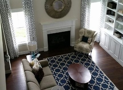 Revere Pewter Living Room Navy Rug Custom Window