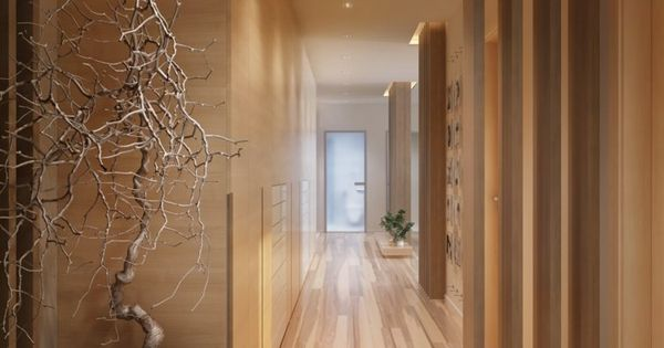 couloir feng shui moderne en bois cloison s paration de pi ce escalier pinterest feng shui. Black Bedroom Furniture Sets. Home Design Ideas