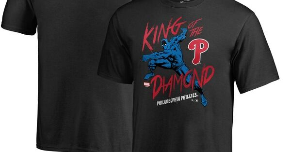 Philadelphia Phillies Fanatics Branded Youth Mlb Marvel Black Panther King Of The Diamond T S Diamond T Shirt Black Panther King Black Panther Marvel