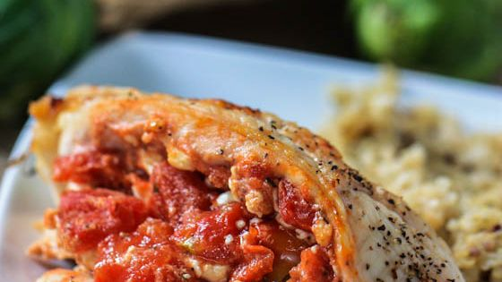 Healthy beautiful!! Tomato Feta Stuffed Chicken Breasts, only 3 ingredients! via eat,