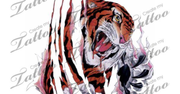 Marketplace Tattoo Tiger Tearing Through Skin 2741 Createmytattoo Com Cat Tattoo Designs Tiger Tattoo Design Custom Tattoo Design