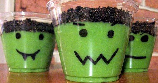 Monster Cups ~ vanilla pudding tinted with green food coloring, crushed oreos