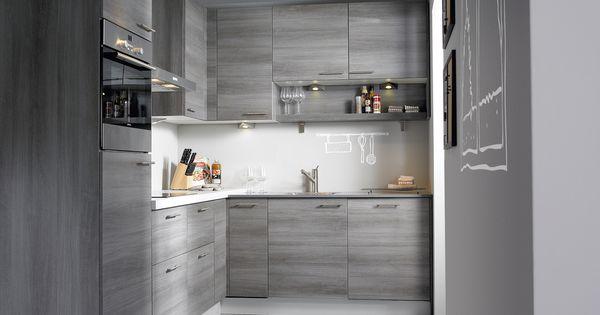 Amica hoekkeuken de warme look van grijs eiken brengt sfeer in deze keuken wit kunststof en - Keukenmeubelen rustiek ...