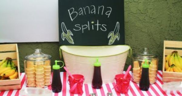 banana split bar curious george birthday party ideas