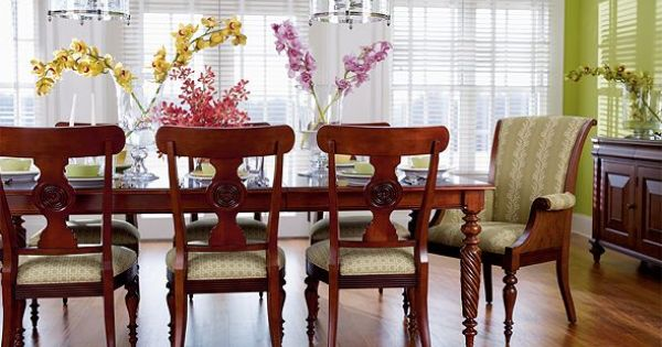 Townhouse collection dining set from ethan allen for Green dining room set