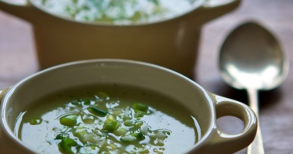 Green-Pea Soup With Cheddar-Scallion Panini Recipe — Dishmaps