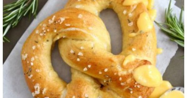 Rosemary Sea Salt Pretzels With Rosemary Cheddar Cheese Sauce Recipe ...