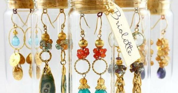 beautiful earrings display by briolette jewelry...this is a creative way to package