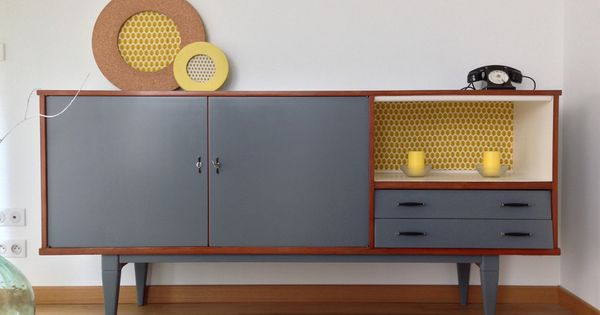 buffet vintage enti rement restaur gris b ton buffet and mid century. Black Bedroom Furniture Sets. Home Design Ideas
