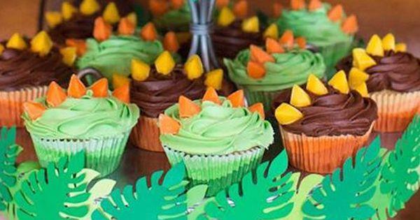 Stegosaurus Cupcakes From A Dinosaur Birthday Party Via
