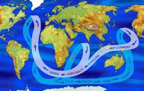 world map showing major ocean currents by salinity levels warm shallow water is less salty. Black Bedroom Furniture Sets. Home Design Ideas