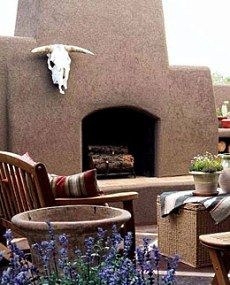 The Kiva Fireplace Steppin Up Out Southwest Style With Images Outdoor Fireplace Outdoor Patio
