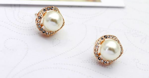 """Elegant Ball Earrings With Shiny Rhinestone And Simulated Pearls"""