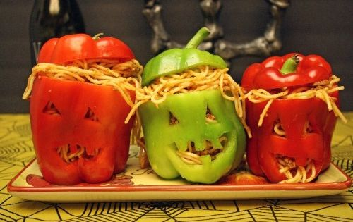 Halloween Food Recipes With | Hallloween spaghetti stuffed peppers