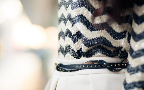 sequin sweater, skirt, and belt