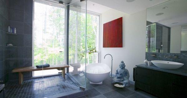 Mobilier asiatique dans la salle de bain cabine banc de for Mobilier asiatique