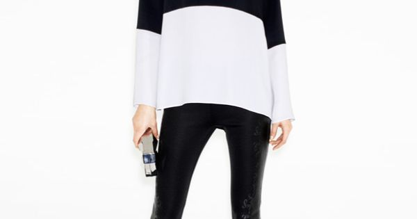 ZARA Woman - Lookbook December. Black and white color blocked sweater