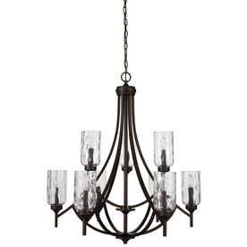 Allen Roth Latchbury 9 Light Aged Bronze Transitional Chandelier Lowes Com Transitional Chandeliers Bronze Ceiling Lights Craftsman Lighting