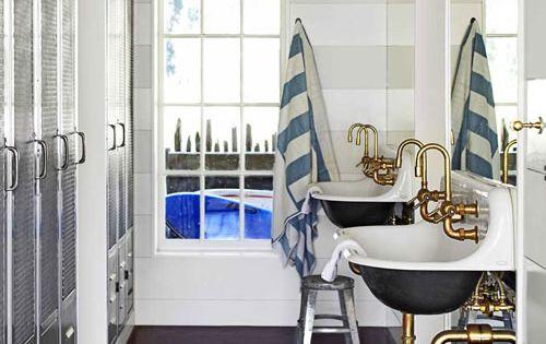 great pool house bathroom ideas . Locker-style storage + kohler brockway sinks