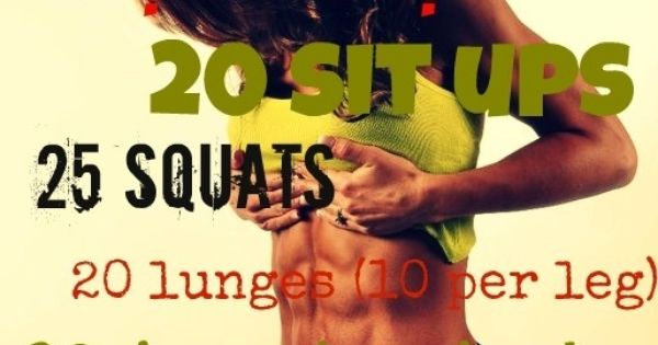 At home workout: push ups, sit ups, squats, lunges, jumping jacks, wall