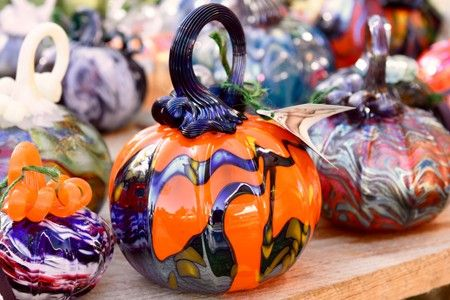 Multi Colored Glass Blown Pumpkins On Display Glass Pumpkins