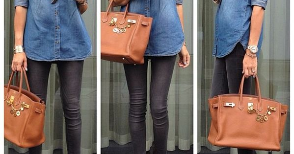 Denim shirt with black skinnies and animal print heels. denimshirts blazer
