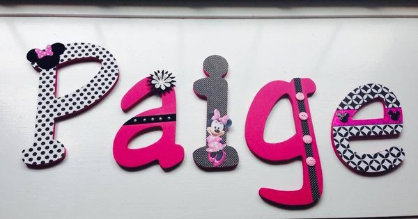 Minnie Mouse Wall Letters / Name Set Polka Dots, Pink