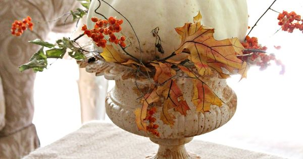 White Pumpkin...in an urn with fall leaves. Take a Vintage Inspired French