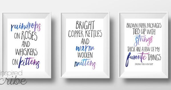 Favorite Things Quote By Maria Von Trapp From Sound Of Music Set Of 3 16x20 Instant Download Instant Download Etsy Color Set Brown Paper Packages