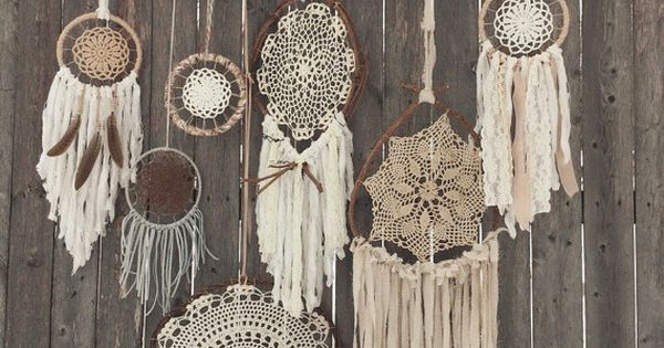 Rustic Boho Chic Driftwood + Crochet Doily Dreamcatchers & Feathers