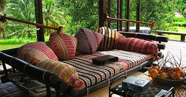 Indonesian decor asian style interiors bali sofa great for Bohemian style daybed