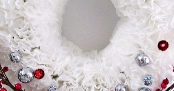 Christmas Wreath - Coffee Filter Craft Ideas - By Dollar Store Crafts