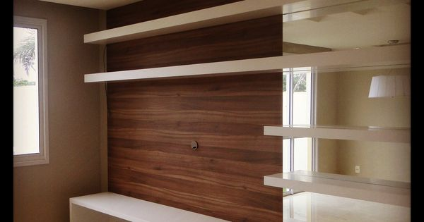 Mueble de tv panel madera espejo y poliuretano blanco - Muebles para televisiones planas ...