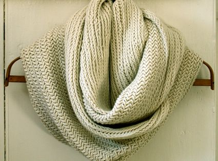 Big Herringbone Cowl. Knitting Project.