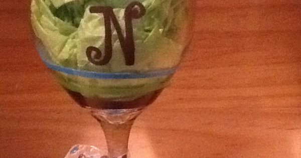 Hand Painted Wine Glass With N Initial By Brandiedmonds On