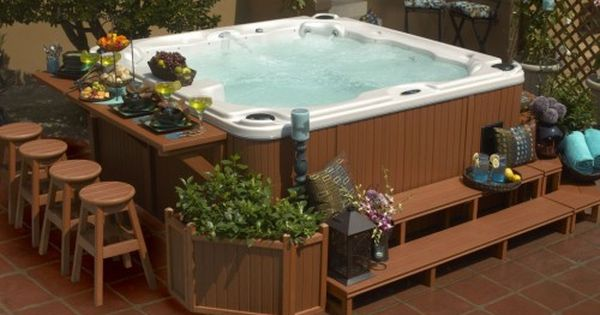 Cool Hot Tub Surround With Narrow Outdoor Bar Table Idea