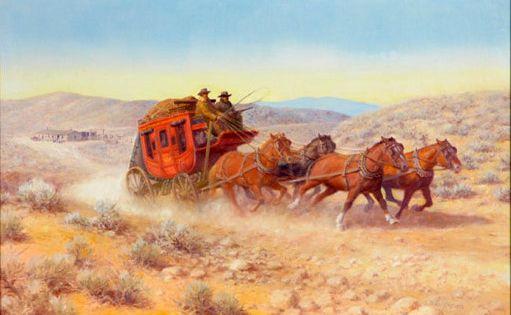 Vintage Stagecoach Wells Fargo Wall Art Print Western Decor