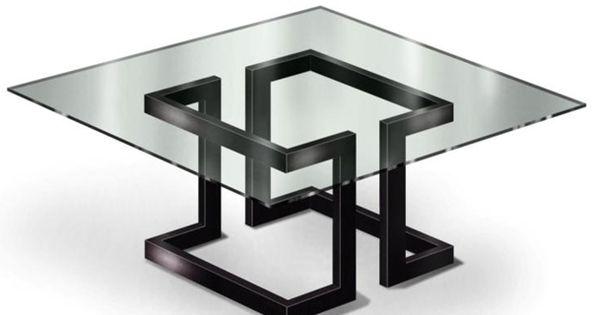 gonzalo de salas mesa de comedor lisa diseo mesa hierro lacado al horno color negro metalizado con cristal de mm ao pinterest