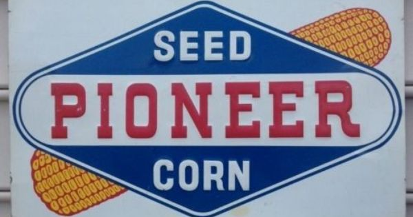 Antique Vintage Old Style Pioneer Corn Seed Farm Sign