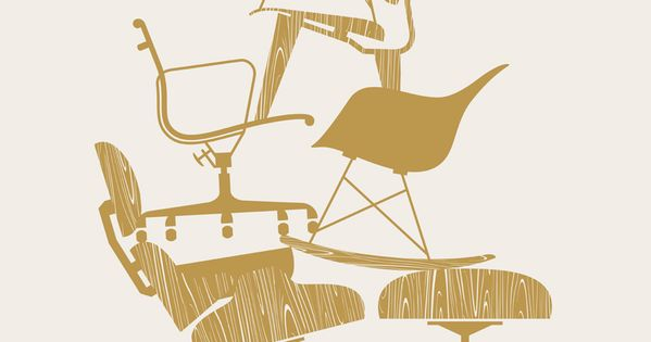 An Eames Chair. EAMES poster by J Fletcher design.