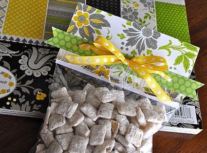 Simple Gift Ideas... Cute way to wrap homemade treats -- fill ziploc
