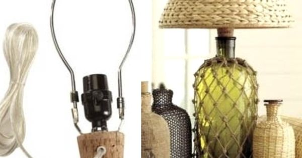 Rope Net Knotted Bottle Ideas Vases Lamps Diy Bottle Lamp Bottle Lamp Diy Bottle