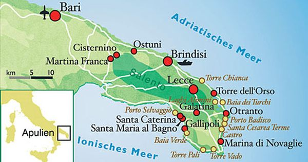 Italy Culinary Tour Illustrated Map Of Puglia Italy