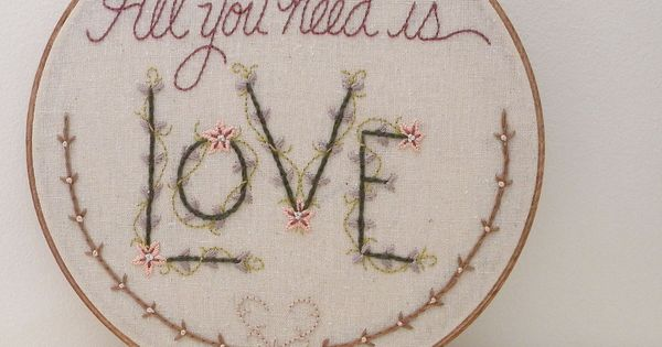all you need is love, romantic embroidered wall art by Monkey Squirrel