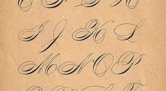 S calligraphy print page capital letters ornamental