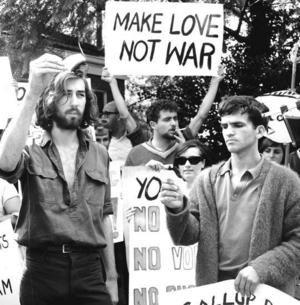 "The popular slogan ""Make Love Not War"" defined America's 1960 ..."