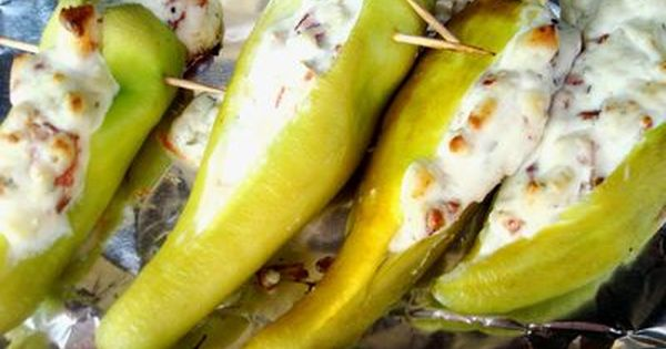 Grilled Banana Peppers With Cheese Stuffed Banana Peppers Stuffed Peppers Recipes