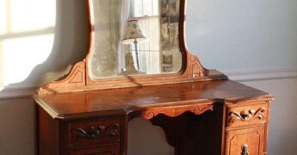 Antique 1940s Wooden Mahogany Mirrored Vanity Desk Table With Drawers Mirrored Vanity Desk